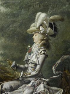 Detail of Marie Antoinette Hunting by Louis Auguste Brun. At the time the Queen's riding was a passion as was her adoption of the riding habit as a fashion. The style was deemed scandalous especially with her continuing inability to conceive an heir for the throne of France.