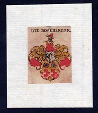 17. Jh Roseberg Roseberger Wappen coat of arms heraldry Heraldik Kupferstich