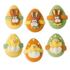 Sugar Easter eggs bunny & chick, flat Sugar Eggs For Easter, Easter Eggs, Buy Cake, Cake Decorations, Bunny, Flat, Cute Bunny, Bass, Rabbit