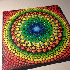 Original Dotart Green and Orange Mandala by CreateAndCherish