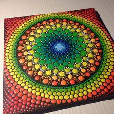 Original Dotart Green and Orange Mandala by CreateAndCherish