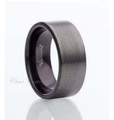 Gun Metal Two Tone Tungsten RingBlack by CleanCastingJewelry, $127.77