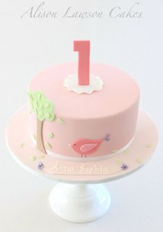 Birdie First Birthday pink cake, although I think I want a yellow cake