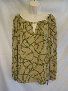 0651215 Michael Michael Kors NWT Dark Camel MK Chain Design Long Sleeve Blouse S #MichaelKors #Blouse #Career