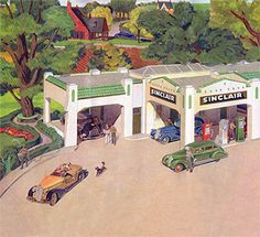 Color rendering of a gas station from a Sinclair gasoline road map. Bay Door, Old Garage, Ho Scale Trains, Old Gas Stations, Train Layouts, Types Of Houses, Oil And Gas, Preserves, Reuse