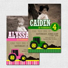 JOHN DEERE TRACTOR Birthday Party Invitations