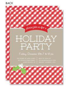 Gingham Mistletoe Holiday Party Invitation