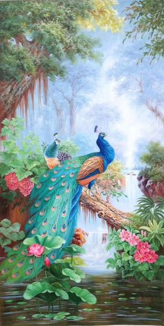 30 Best ideas wall murals painted abstract home Modern Canvas Art, Abstract Canvas, Modern Art, Painting Canvas, Painting Abstract, Peacock Wall Art, Peacock Painting, Beautiful Nature Wallpaper, Beautiful Birds