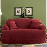 Found it at Wayfair - Soft Suede Sofa T- Cushion Skirted Slipcover