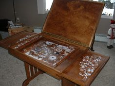 Puzzle table, would want it lower with closed cabinet for puzzle storage. use as a coffee table. Picture 1 of 2, open.