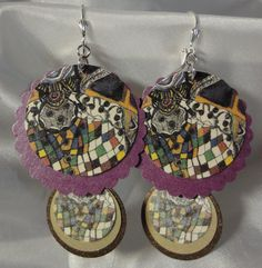 Paper Earrings featuring the art of Judy Fox by beccasblend on Etsy