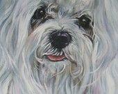 Maltese dog portrait CANVAS print of LA Shepard painting 12x16 dog art