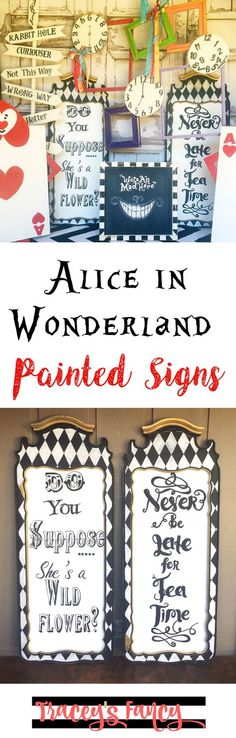 Alice in Wonderland Painted Signs | Wall Decor Ideas | DIY Party Sign Ideas | Queen of Hearts & Mad Hatter | Painting tips and handpainted sign ideas by Tracey's Fancy
