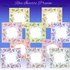 Rose Inserts on Craftsuprint designed by Donna Kelly - A selection of 10 floral inserts all on pastel backgrounds. All are approx 7x7 each is unique in the different colours in the roses and the backgrounds, all are in jpeg format and can be used in many card making applications, including as backgrounds - Now available for download!