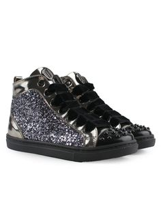 High-top girls glitter sneakers with studs Girls Sneakers cf3a1c56ce3