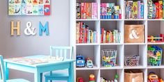 24 Beautiful Reasons We Can't Help But Fall In Love With Playroom Storage Ideas - Sofa Rotan Storage Shelves, Storage Spaces, Storage Ideas, Playroom Organization, Playroom Ideas, Playroom Design, Bookcase With Drawers, Bookshelves, Looks Chic