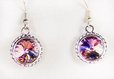 Earrings, crystal earrings, crystal jewelry, Swarovski crystal, crystal, vitrail light crystal, silver plate bezel, surgical steel earwire, by EarringsBraceletsEtc on Etsy