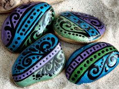 A Touch of Gypsy Magnets Set of 4 / Painted Rocks / Sandi Pike Foundas / Cape Cod Sea Stones