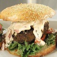Hamburger med sopp og chilimajones -