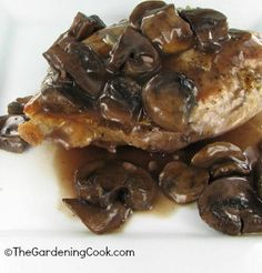 Chicken and Mushrooms with a Red Wine Sauce