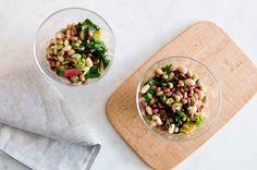 three bean salad with sautee chard
