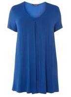 Womens DP Curve Plus Size Cobalt Front Pleat T-Shirt- Cobalt