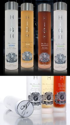 High Liquors Vodka, Rum, Whiskey and Tequila bottles. Very nice packaging for a family of products PD (Liquor Bottle Packaging) Tequila Bottles, Alcohol Bottles, Liquor Bottles, Bottles And Jars, Glass Bottles, Vodka Bottle, Vodka Alcohol, Glass Packaging, Cool Packaging