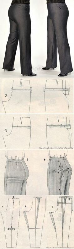 New sewing clothes pants tutorials ideas Sewing Dress, Sewing Pants, Sewing Clothes, Diy Clothes, Clothing Patterns, Dress Patterns, Sewing Patterns, Fashion Sewing, Diy Fashion