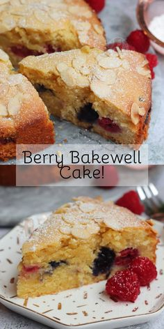A Simple, Delicious Bakewell Cake with Fresh Berries and Almonds! A Simple, Delicious Bakewell Cake with Fresh Berries and Almonds! Almond Recipes, Baking Recipes, Cake Recipes, Dessert Recipes, Bakewell Tart, Cherry Bakewell Cake, Food Cakes, Cupcake Cakes, Cupcakes