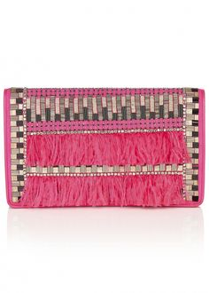 Feather Beaded Suede Clutch Bag - Bags - Matthew Williamson