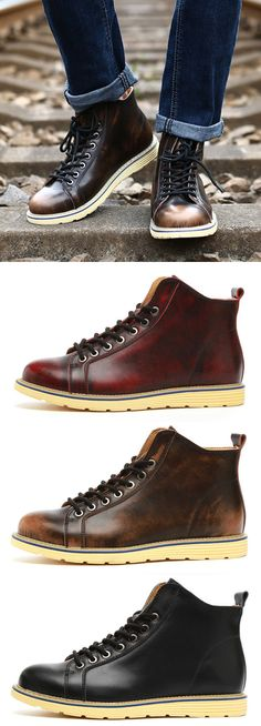 Large Size Vintage Color Match Ankle High Top Leather British Style Boots is fashionable, come to NewChic to buy mens boots online. Fashion Moda, Look Fashion, Fashion Shoes, Mens Fashion, Rugged Style, Mens Boots Online, Casual Shoes, Men Casual, Men S Shoes