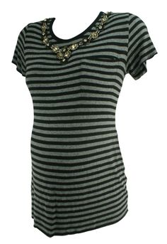 Gray A Pea in the Pod Collection Short Sleeve Striped Beaded Maternity Blouse (Gently Used - Size Medium) - Motherhood Closet - Maternity Consignment