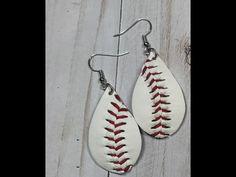 Baseball Leather Earrings - Small Teardrop