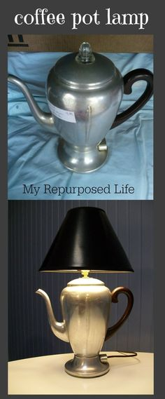 Vintage Coffee Pot Lamp (repurposed) - the best tutorial I've found for doing this