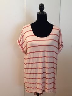 Anthropologie Pure + Good Top Pink Striped Size M #PureGood #KnitTop #Casual