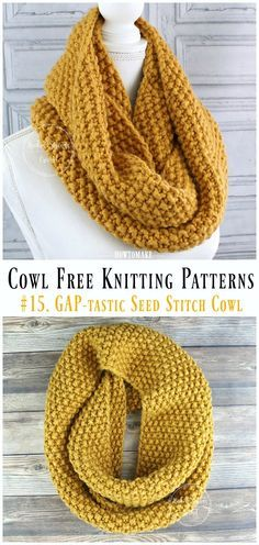 GAP-tastic Seed Stitch Cowl Free Knitting Pattern – Cowl Free template , GAP-tastic Seed Stitch Cowl Free Knitting Pattern – Cowl Free Patterns , Crochet and Knitting Source by howtomakes Baby Knitting Patterns, Love Knitting, Easy Knitting, Knitting Designs, Free Cowl Knitting Patterns, Knitting Stitches, Crochet Patterns, Knitting Ideas, Knitting Scarves