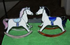 Stained glass rocking horses I made.