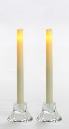 "Candle Impressions 2-PACK of 9"" Flameless Wax-Finish Tapers w/ 5-Hour Timer, Cream"