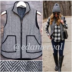 ⭐️ALL SIZES!⭐️NWT Tweed Herringbone Quilted Vest NWT Tweed Herringbone Quilted Vest. This medium-weight quilted stitch vest features a trendy black and white herringbone stitch. 2 front pockets and brassy gold zipper down front. 100% polyester, lined. Available in Small (2-4), Medium (6-8), Large (10-12)No Trades and No PaypalPrice is firm Jackets & Coats Vests