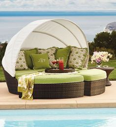 Our versatile, all-weather Baleares daybed serves as a private lounger or seating for six- perfect for your pool deck.