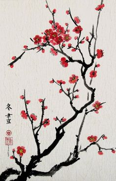 Cherry Blossoms, Giclee Print of Chinese Brush Painting, 13 X 20 Inches: Watercolor Paintings: Posters & Prints Chinese Cherry Blossom, Japanese Cherry Blossoms, Japanese Blossom, Chinese Art, Chinese Brush, Chinese Style, Chinese Prints, Chinese Drawings, Cherry Blossom Painting