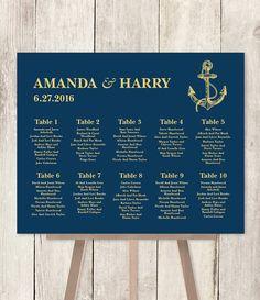10% OFF with coupon code PIN10 ~ Nautical Seating Chart DIY // Nautical Wedding by JadeForestDesign