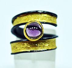 Amethyst solitaire wrap ring black rhodium gold silver amethyst ring