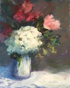 """Daily+Paintworks+-+""""Hydrangea+and+Tulips""""+-+Original+Fine+Art+for+Sale+-+©+Joanne+Bath"""