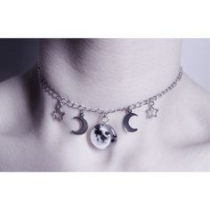 celestial full moon choker, pastel goth, grunge, gothic necklace ($14) ❤ liked on Polyvore featuring jewelry, necklaces, chain necklaces, pendant necklaces, chain choker necklace, goth choker and pendant choker necklace