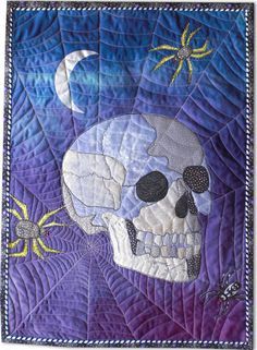 "Crystal Skull, 18 x 25"", art quilt by Betty Busby"