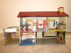Marx tin doll house with plastic furniture