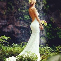 Open back, backless, wedding dress gown. Would be cute with long sleeves