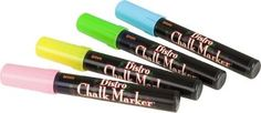 These incredible Bistro Chalk Markers create a dustless, smooth layer of rich fluorescent color on black boards, glass, backlit boards, presentation boards, and metal boards.  Also great for outdoor a