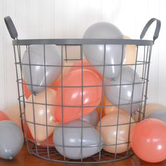 Coral, gray and blush/light peach miniature party balloons for summer wedding or beach wedding